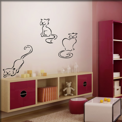 wandtattoo katzen mal ganz preiswert. Black Bedroom Furniture Sets. Home Design Ideas