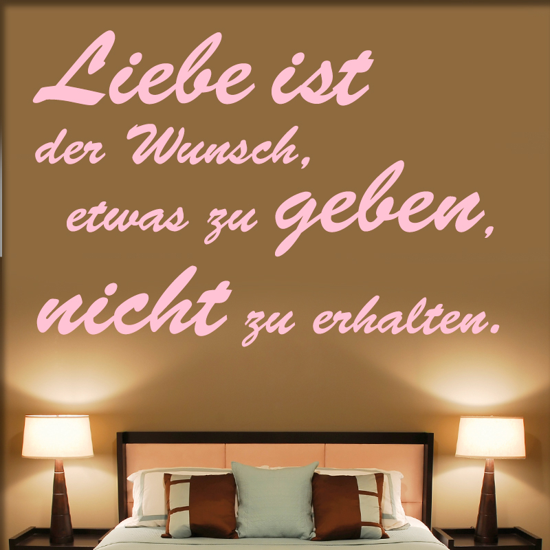 wandtattoo spruch liebe ist. Black Bedroom Furniture Sets. Home Design Ideas